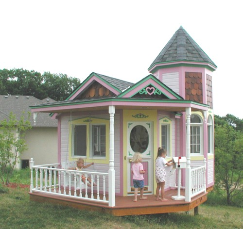 Pink playhouse flickr photo sharing for Wooden wendy house ideas
