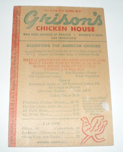 MENU GRISSOM'S SAN FRANCISCO CALIF.