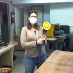 Lisa in the Mt. Elliott Makerspace Woodshop