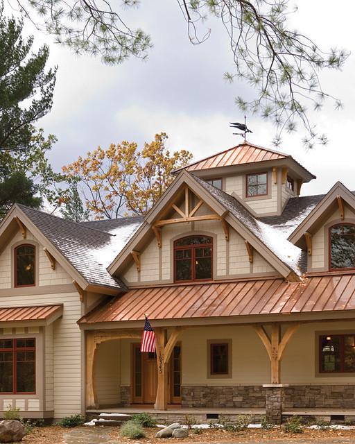Timber treasure timber frame home exterior porch a for Timber frame exteriors