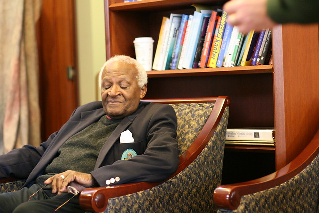 Archbishop Desmond Tutu Closes His Eyes After His Interview with Krista Tippett
