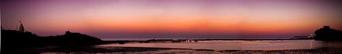 sunset panorama india water coast landscapes dusk panoramas vistas diu techniquepanoramas