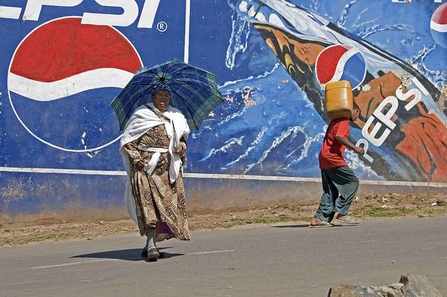Ethiopia. Addis Ababa. Building in Meskal Square