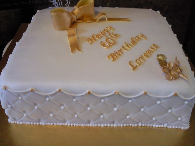 Birthday Cake Images Gold : 60th birthday cake white and gold Flickr - Photo Sharing!