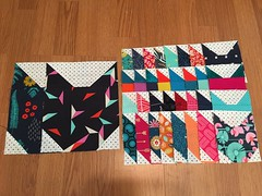 The two big blocks were pieced by me & were provided as inspiration for my bee mates - tomato red, navy, aqua, & fuchsia. I tentatively calling this one, who had kittens?