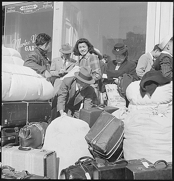 San Francisco, California. Evacuees of Japanese descent among a contingent of 664, first to be removed from San Francisco, 04/16/1942 from Flickr via Wylio