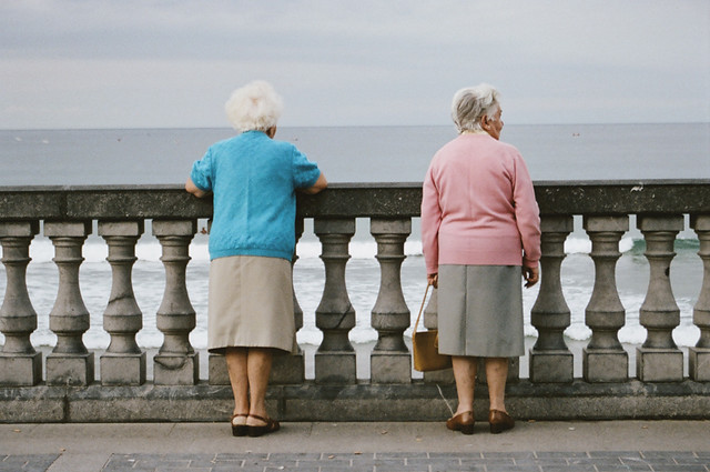 two old women in cute outfits (zarautz)