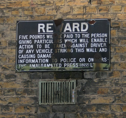 Reward Sign - Amalgamated Press Building Northfleet Kent