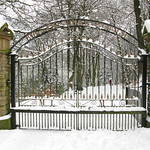 Boggart Hole Park gates in the snow
