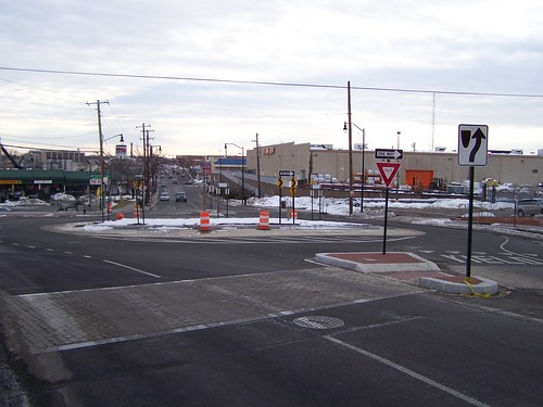 A roundabout has been constructed on Brentwood Road