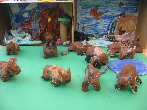 A herd of clay Buddy Bisons