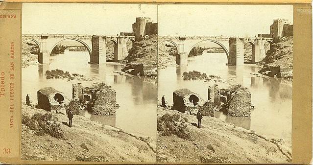 Vista estereoscópica del Puente de San Martín hacia 1860 por E. Làmy