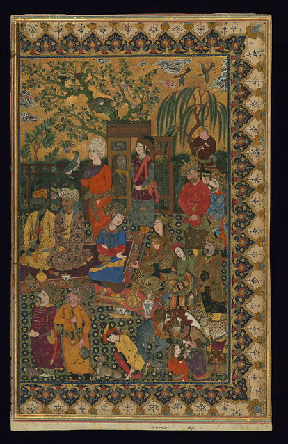 Illuminated single leaf, Coutiers at a reception of Shah Abbas I, Walters Art Museum ms. W.691