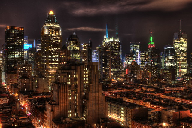 City lights - Midtown Manhattan glowing in the night :)