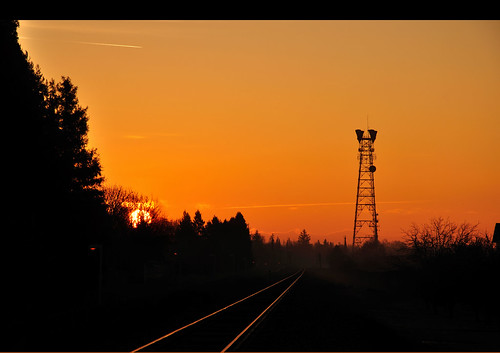california morning sky orange sun color sunrise nikon glow tracks silhouettes railroadtracks towere nikond90 champbass2
