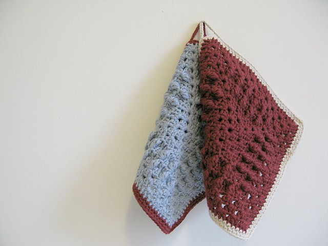 Betsy and Lola, organic crochet dish cloths by Emma Lamb