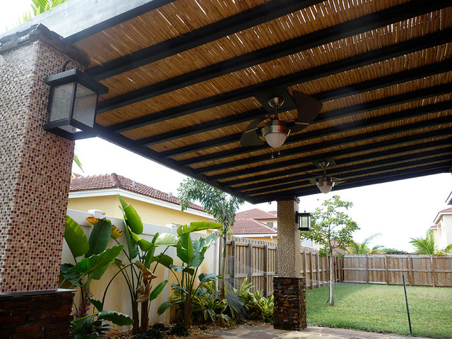 Custom bamboo pergola with built in ceiling fans bamboo - Suelos de bambu ...