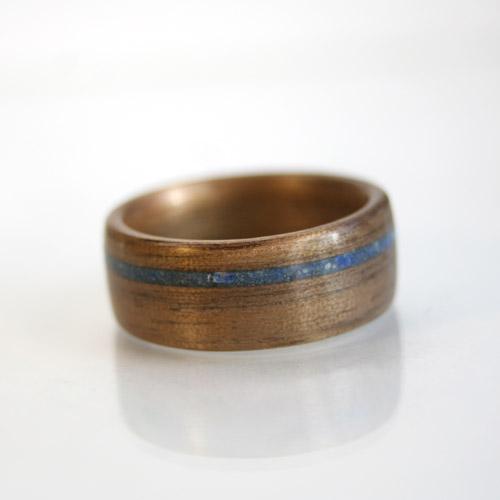walnut ring with lapiz lazuli inlay - Artisan Wedding Rings