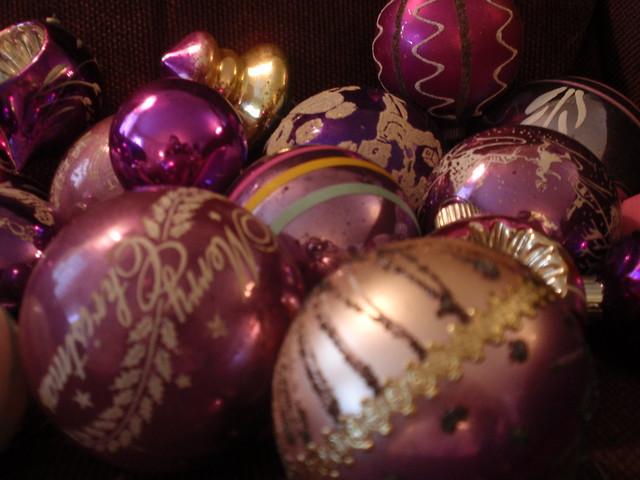 Even more purple & lavender vintage ornaments