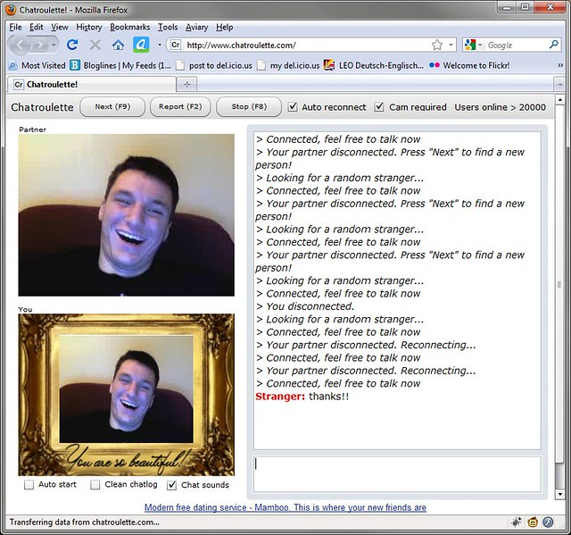 Chat roulette flashes