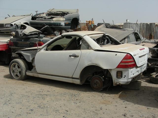 Mercedes in junkyard w170 slk roadster flickr photo for Mercedes benz junkyard