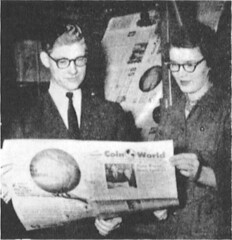 Dick and Shirley Johnson review first issue of COIN World