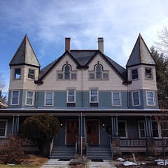 #cool #old #house with #symmetrical #pyramid #spires #windows, #chimneys #lambertville #hunterdoncounty #sweet #architecture