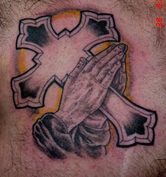 Praying Hands Tattoos on Cross With Praying Hands Tattoo   Flickr   Photo Sharing