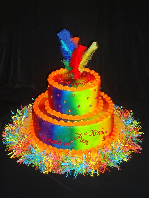 Tie Dye Cake With Buttercream Frosting