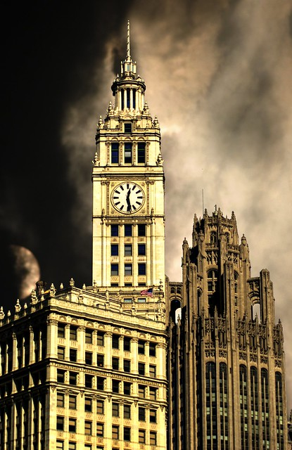 wrigley and tribune towers, chicago 3-4a