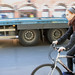 HGV and woman cyclist
