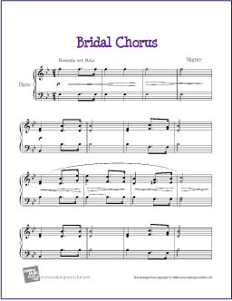Bridal Chorus Wagner Free Sheet Music For Easy Piano