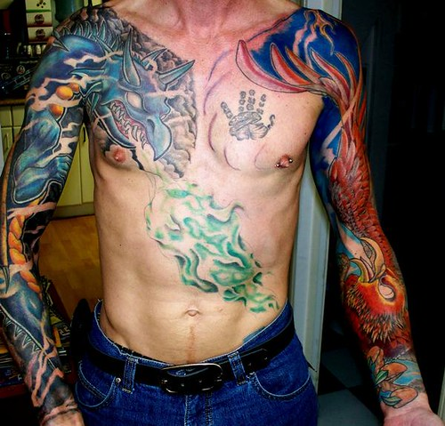 Dragon and pheonix sleeves tattoo flickr photo sharing