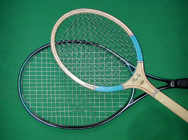 Wood and CFRP tennis rackets