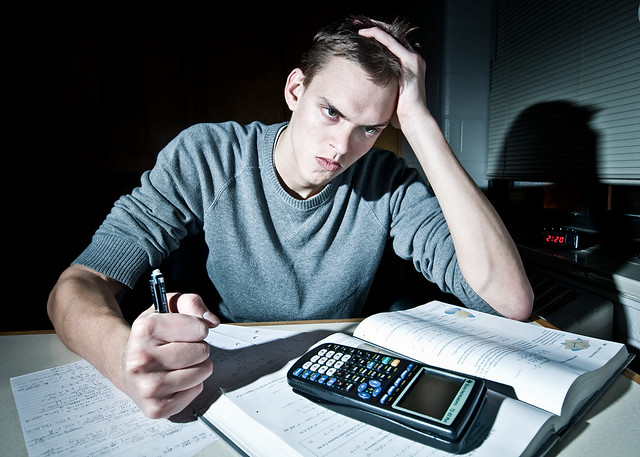I always do my homework late at night