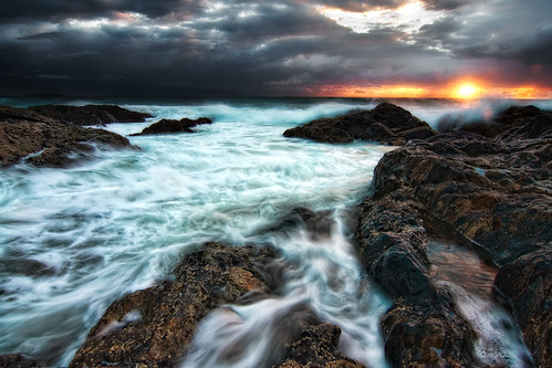 ocean nature clouds sunrise landscape coast rocks pacific australia cliffs canon40d