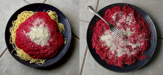 spaghetti, beet puree and parmesan (2008)