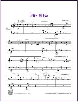 Fur Elise Piano Sheet Music Free