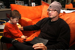 sequoia shares his toy thunderbirds with grandpa jef…
