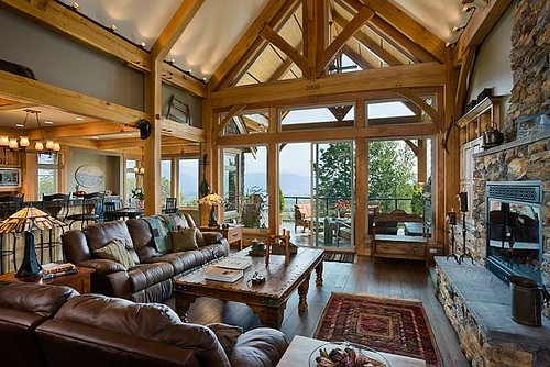 Mountain View Timber Frame Home Great Room Flickr