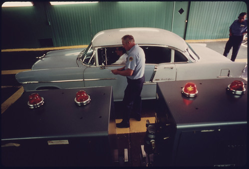 Red Light of the Exhaust Analyzer Indicates That This Car Failed the Test at the Auto Emission Inspection Station at Norwood Ohio...09/1975