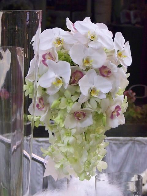 Cascading orchids wedding flower arrangements from Alan's Rumson Florist