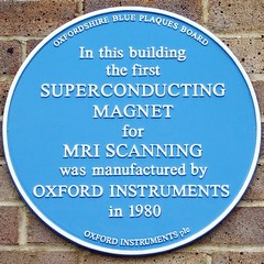 Photo of first superconducting magnet for MRI scanning blue plaque