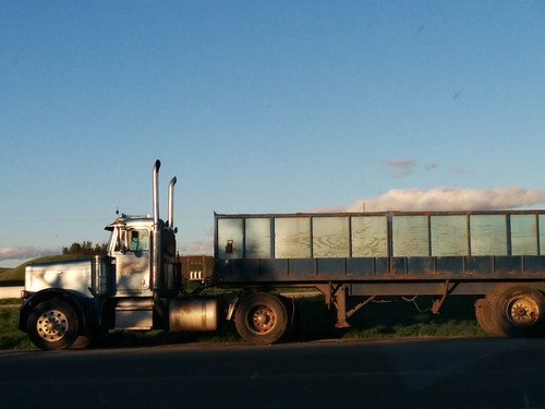 blue truck with cloud