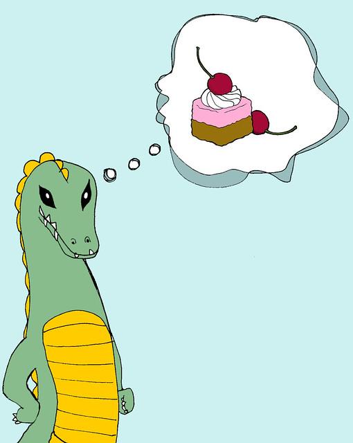 Godzilla Thinks About Cherry Cake