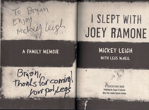 "12/18/09 Mickey Leigh and Legs McNeil Autographed Copy of ""I Slept With Joey Ramone"""