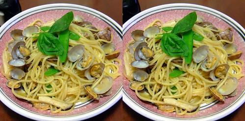 あさりのスパゲッティ spaghetti with clams (crosseye 3D) - 無料写真検索fotoq