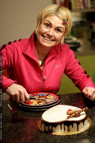 martha stewart on crack, serving valentine's day cake for dessert