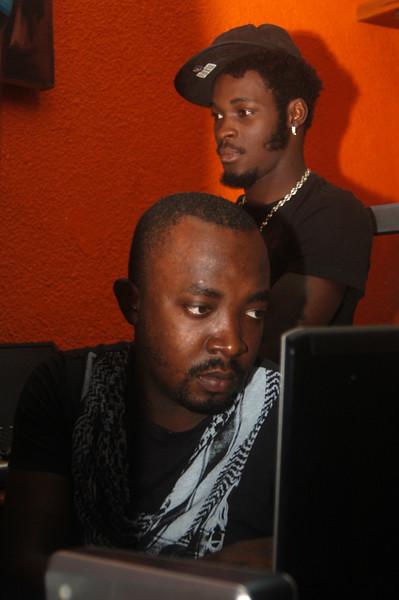 DJ Arafat with his producer's Champy Kilo, Abidjan, Côte d'Ivoire, 10.04.2010 (6095)