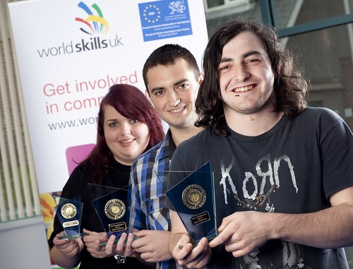 Winners of the 2011 Skills Competition Wales IT competition holding their medals